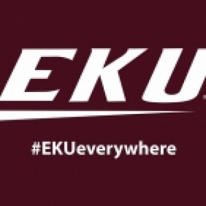 Maroon background, EKU logo, #EKUEverywhere
