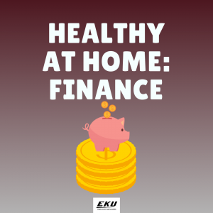 healthy at home: finance, piggy bank graphic
